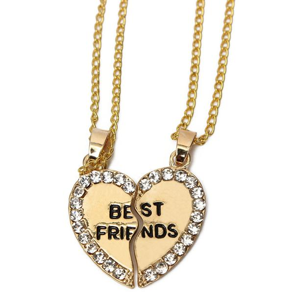 Rhinestone broken heart double parts best friend pendant necklaces sku246385 3g aloadofball Choice Image