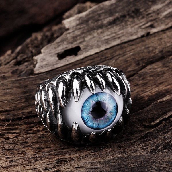 Retro Punk Stainless Steel Blue Evil Eye Band Ring Men Jewelry