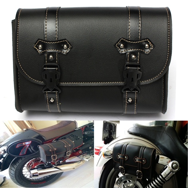 Motorcycle Saddle Leather Bag Storage Tool Pouch For