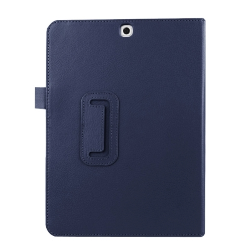 Litchi Texture Horizontal Flip Solid Color Smart Leather Case with Two-folding Holder & Sleep / Wake-up Function for Samsung Galaxy Tab S2 9.7 / T815 (Dark Blue)