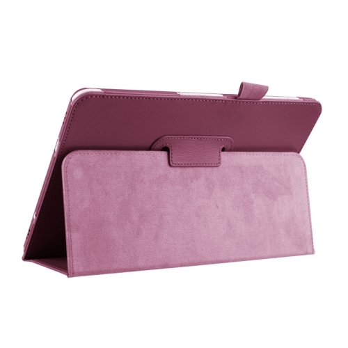 Litchi Texture Horizontal Flip Solid Color Smart Leather Case with Two-folding Holder & Sleep / Wake-up Function for Samsung Galaxy Tab S2 9.7 / T815 (Purple)