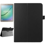 Litchi Texture Horizontal Flip Solid Color Smart Leather Case with Two-folding Holder & Sleep / Wake-up Function for Samsung Galaxy Tab S2 9.7 / T815 (Black)
