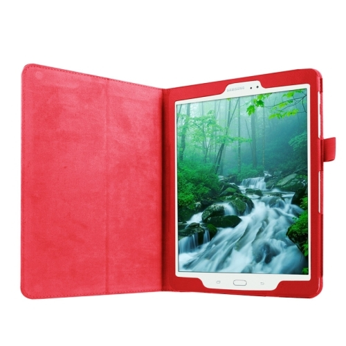 Litchi Texture Horizontal Flip Solid Color Smart Leather Case with Two-folding Holder & Sleep / Wake-up Function for Samsung Galaxy Tab S2 9.7 / T815 (Red)