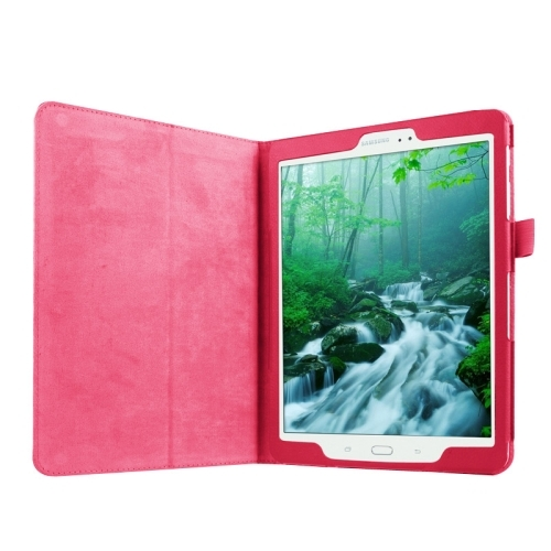 Litchi Texture Horizontal Flip Solid Color Smart Leather Case with Two-folding Holder & Sleep / Wake-up Function for Samsung Galaxy Tab S2 9.7 / T815 (Magenta)