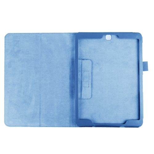 Litchi Texture Horizontal Flip Solid Color Smart Leather Case with Two-folding Holder & Sleep / Wake-up Function for Samsung Galaxy Tab S2 9.7 / T815 (Blue)