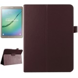 Litchi Texture Horizontal Flip Solid Color Smart Leather Case with Two-folding Holder & Sleep / Wake-up Function for Samsung Galaxy Tab S2 9.7 / T815 (Brown)