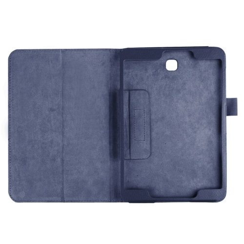 Litchi Texture Horizontal Flip Solid Color Smart Leather Case with Two-folding Holder & Sleep / Wake-up Function for Samsung Galaxy Tab S2 8.0 / T715 (Dark Blue)
