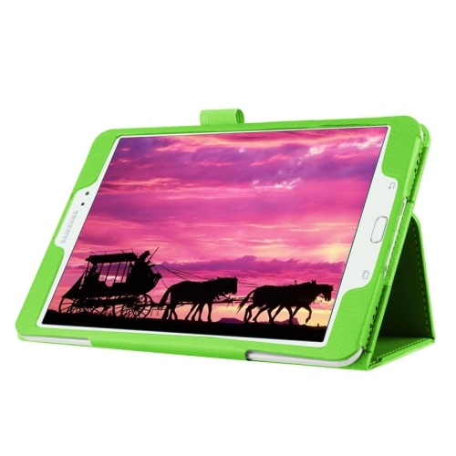 Litchi Texture Horizontal Flip Solid Color Smart Leather Case with Two-folding Holder & Sleep / Wake-up Function for Samsung Galaxy Tab S2 8.0 / T715 (Green)