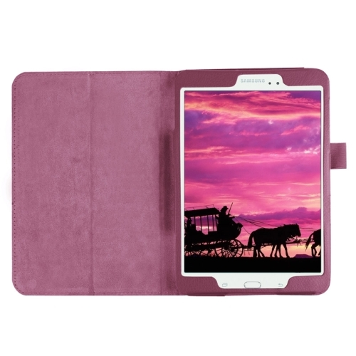 Litchi Texture Horizontal Flip Solid Color Smart Leather Case with Two-folding Holder & Sleep / Wake-up Function for Samsung Galaxy Tab S2 8.0 / T715 (Purple)