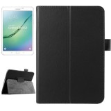 Litchi Texture Horizontal Flip Solid Color Smart Leather Case with Two-folding Holder & Sleep / Wake-up Function for Samsung Galaxy Tab S2 8.0 / T715 (Black)