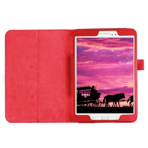 Litchi Texture Horizontal Flip Solid Color Smart Leather Case with Two-folding Holder & Sleep / Wake-up Function for Samsung Galaxy Tab S2 8.0 / T715 (Red)