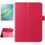 Litchi Texture Horizontal Flip Solid Color Smart Leather Case with Two-folding Holder & Sleep / Wake-up Function for Samsung Galaxy Tab S2 8.0 / T715 (Magenta)