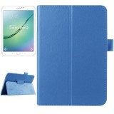 Litchi Texture Horizontal Flip Solid Color Smart Leather Case with Two-folding Holder & Sleep / Wake-up Function for Samsung Galaxy Tab S2 8.0 / T715 (Blue)