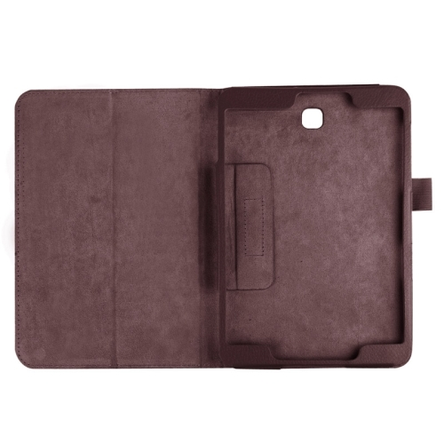 Litchi Texture Horizontal Flip Solid Color Smart Leather Case with Two-folding Holder & Sleep / Wake-up Function for Samsung Galaxy Tab S2 8.0 / T715 (Brown)