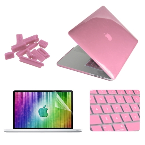ENKAY 4 in 1 Crystal Hard Shell Plastic Protective Case with Screen  Protector & Keyboard Guard & Anti-dust Plugs for MacBook Pro Retina  15 4inch