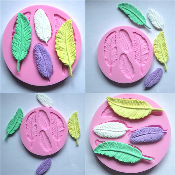 Silicone 3D Feather Fondant Mold Cake Decoration DIY Mold ...