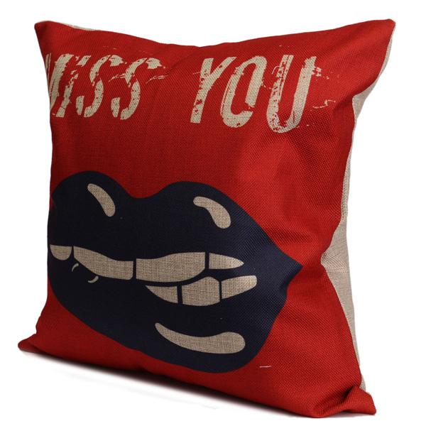 Love Heart Cotton Linen Pillow Case Waist Cushion Cover Home Sofa Wedding Decor