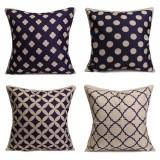 Blue Geometric Cotton Linen Pillow Cases Waist Cushion Cover Home Sofa Decor