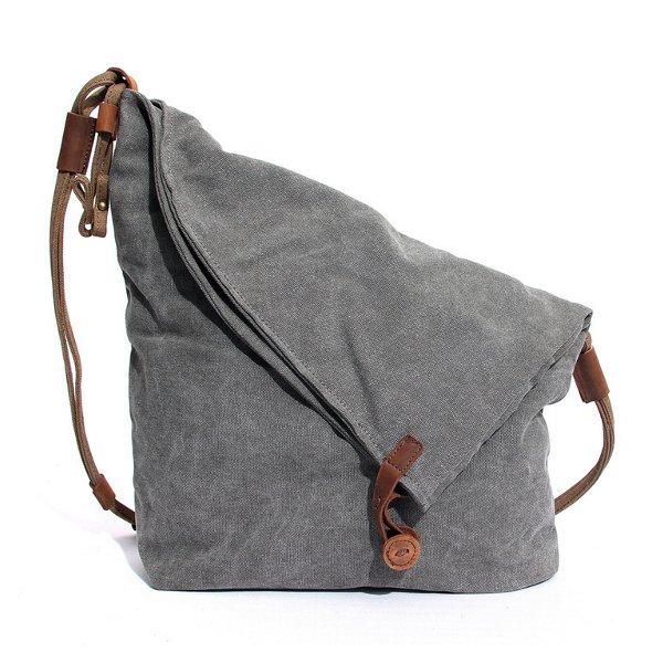 Women Men Canvas Cowhide Gray On Shoulder Bags Casual Crossbody
