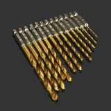 13pcs 1.5-6.5mm HSS Titanium Coated 1/4 Inch Hex Shank High Speed Steel Drill Bit Set