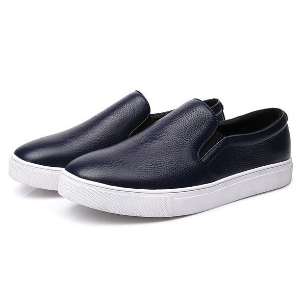 big size leather breathable causal flat walking sport