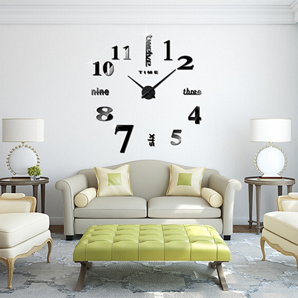 Large Mirrored Wall Clock m.sparkling large mirror wall clock 3d hanging clock bracket clock