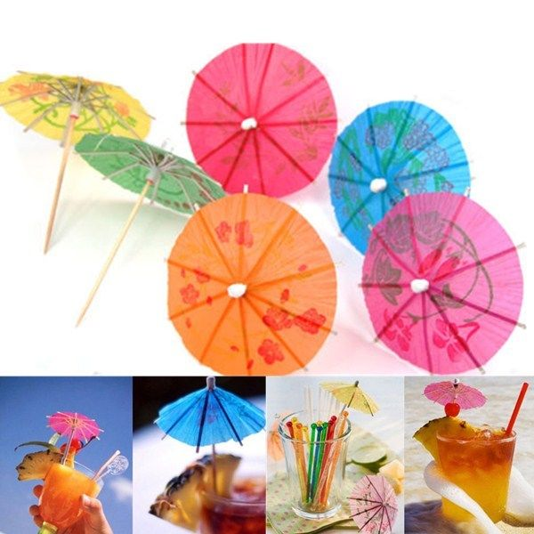 23pcs Party Paper Parasol Umbrellas Toothpick Wedding Luau Tail Drinks