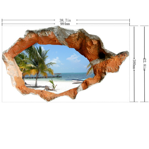 3d Beach Wall Decals 38 Inch Removable Sea Wall Art Stickers Home