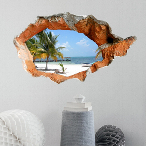 3d beach wall decals 38 inch removable sea wall art stickers home decor. Black Bedroom Furniture Sets. Home Design Ideas