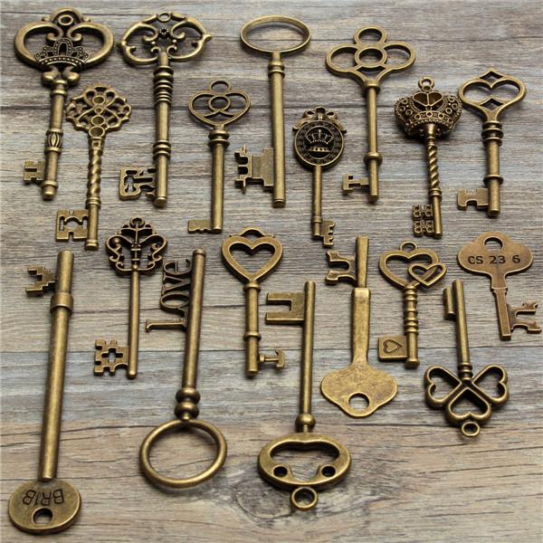18pcs antique vintage old look skeleton key lot pendant for Classic house keys samplephonics