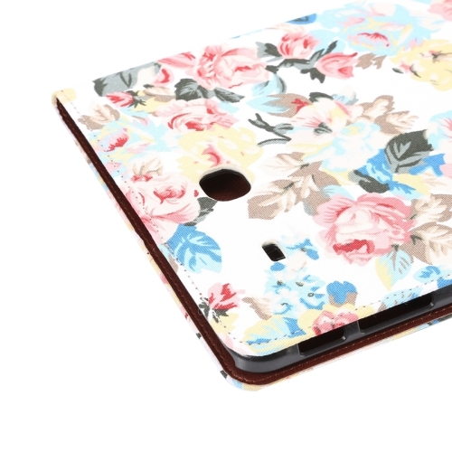 Flower Pattern Cloth Surface Horizontal Flip Leather Case with Wallet & Card Slots & Holder for Samsung Galaxy Tab E 9.6 / T560 (White)