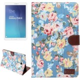 Flower Pattern Cloth Surface Horizontal Flip Leather Case with Wallet & Card Slots & Holder for Samsung Galaxy Tab E 9.6 / T560 (Blue)