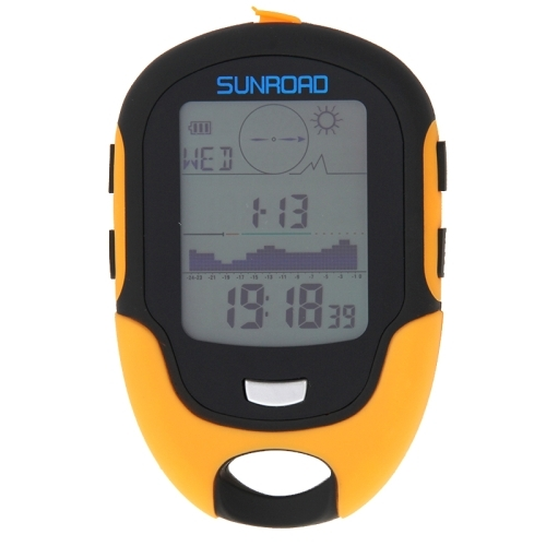 SUNROAD Multifunction LCD Digital Altimeter with Compass & Barometer & Thermometer & Hygrometer & Weather Forecast & LED Torch and Clock