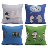 Cotton Linen Funny Cartoon Animal Pillow Cases Sofa Office Throw Cushion Cover