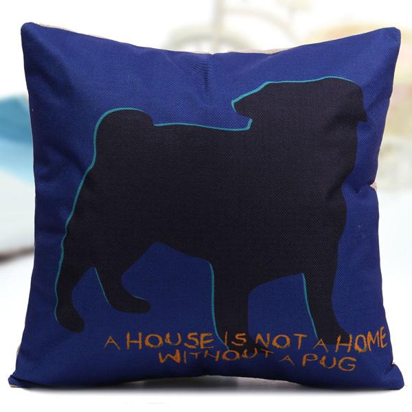 Cute Hug Pug Dog Throw Pillow Case Sofa Car Office Linen Cotton Cushion Cover Alex NLD