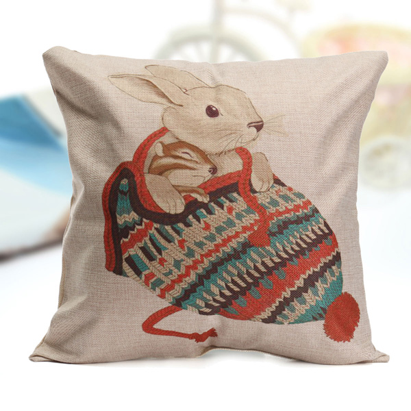 Animal World Cotton Linen Pillow Case Waist Throw Cushion Cover Home Sofa Decor