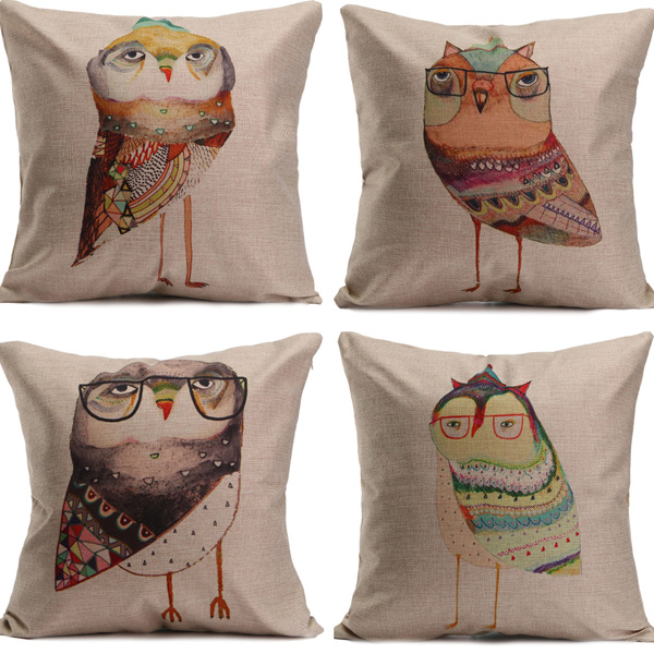 Creative Cute Chickens Printed Cotton Linen Pillow Cases Home Sofa Car Cushion Cover Alex NLD