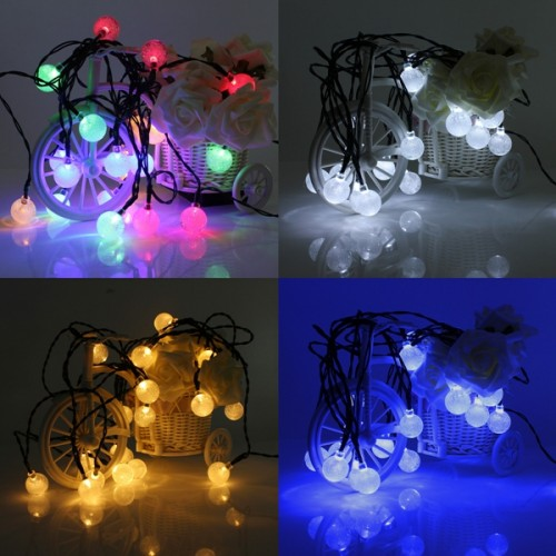 4.8M 20 LED Waterproof Solar Ball Fairy String Lights Xmas Wedding Party Garden Decor