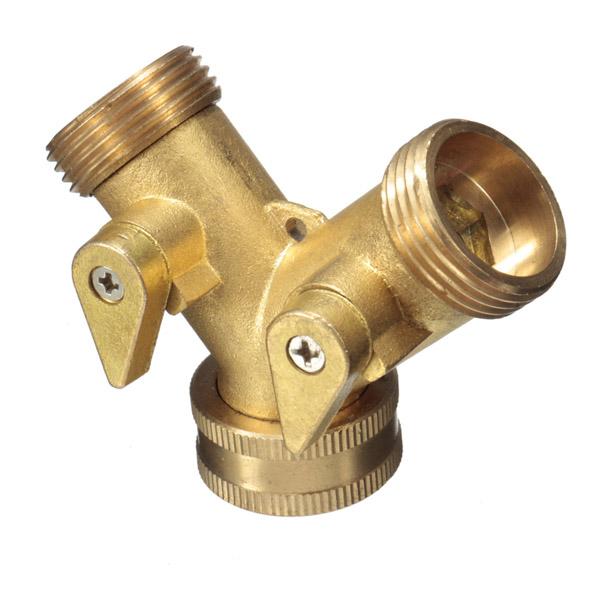 Inch brass garden irrigation way splitter hose tap