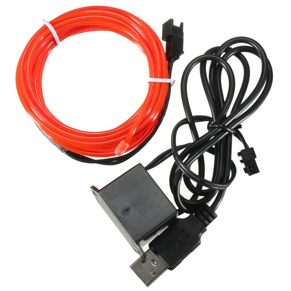 3M Single Color 5V USB Flexible Neon EL Wire Light Dance Party Decor ...