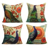 45X45cm Peacock Cotton Linen Pillow Case Square Cushion Cover Home Sofa Car Decor