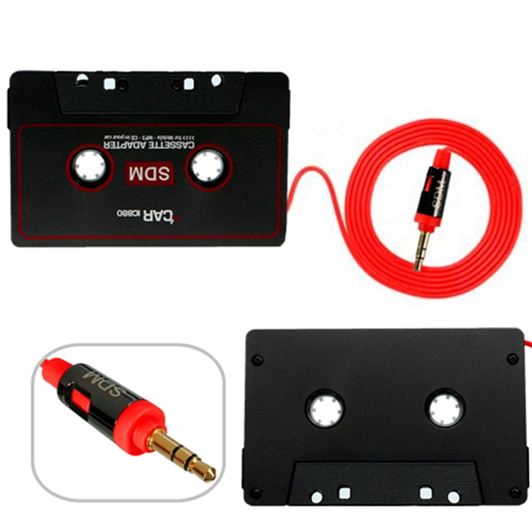 car audio tape cassette adapter for mobile phone mp3 cd radio 3 5mm jack aux. Black Bedroom Furniture Sets. Home Design Ideas