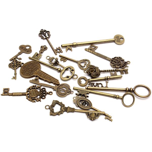 18pcs antique vintage old look skeleton key lot pendant heart bow 8g 1g mozeypictures Gallery