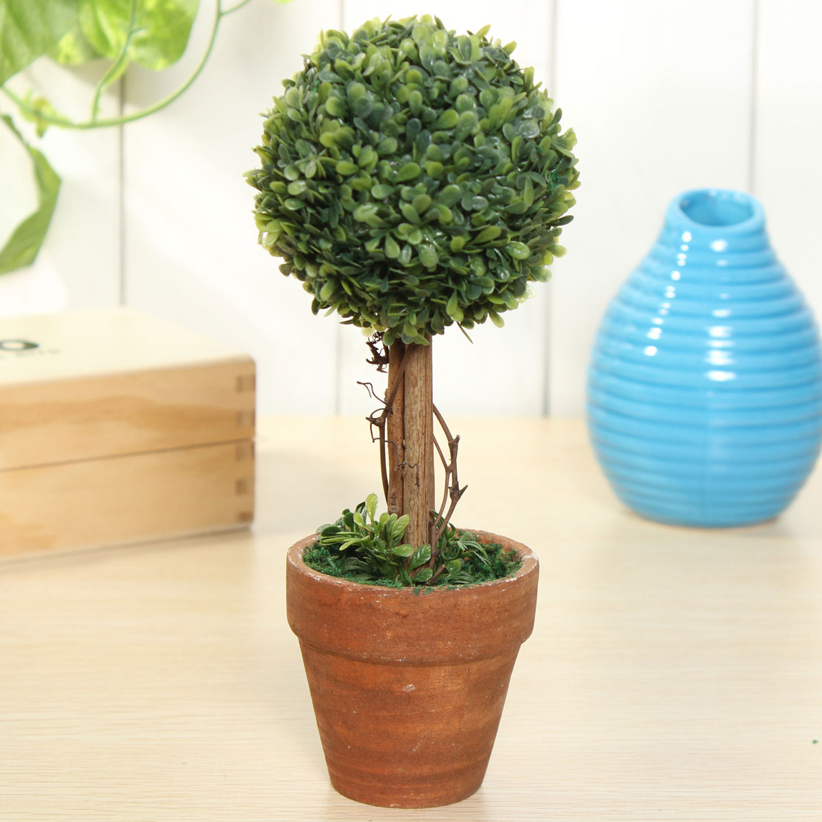 Artificial potted plant plastic garden grass ball topiary for Outdoor decorating with potted plants