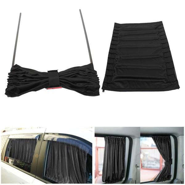 2pcs 70cm Mesh L Auto Rear Valance Sunshade Drape Visor Car Window Curtain