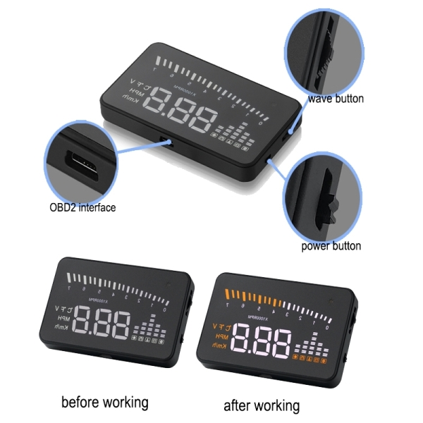 X5 3.5 inch Car OBD II / EUOBD HUD Vehicle-mounted Head Up Display Security System, Support Speed & Water Temperature & Speed Alarm & Battery Voltage, etc.