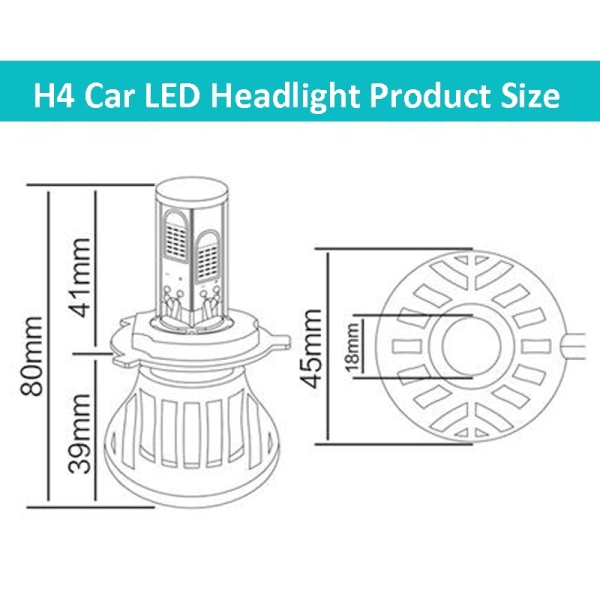 H4-5HL-40W 4000lm / 6000K Car LED Headlight, White Light, DC 9-36V, Pack of 2