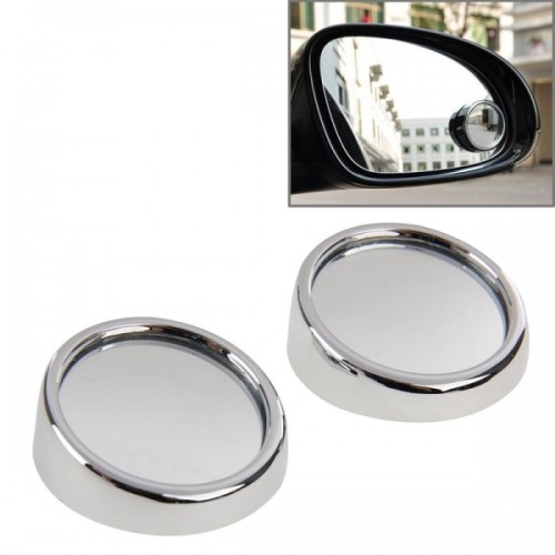 3R11 Car Rear View Mirror Wide Angle Mirror Side Mirror, 360 Degree Rotation Adjustable, Pack of 2 (Silver)