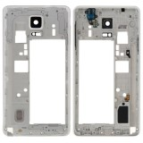 Middle Frame Bazel Back Plate Housing Camera Lens Panel Replacement with Speaker Ringer Buzzer and Earphone Hole for Samsung Galaxy Note 4 / N910V (White)