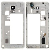 Middle Frame Bazel Back Plate Housing Camera Lens Panel Replacement for Samsung Galaxy Note 4 / N910F (White)